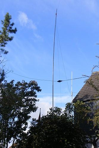 SOTA Antennen für den WAG im Garten aufgebaut