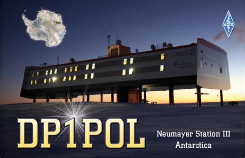 QSL-Karte von DP1POL auf der Neumayer Station III in der Antarktis