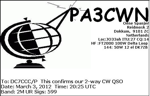 eQSL for the telegraphy QSO with PA3CWN from the Netherlands