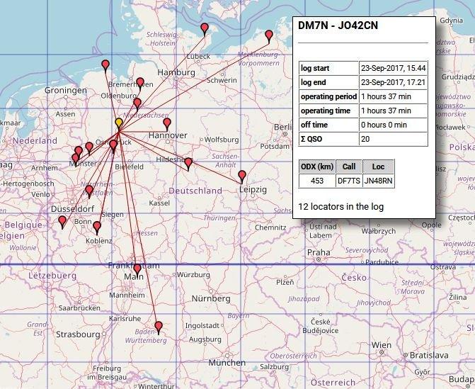 QSO Map (Daten von OpenStreetMap – Veröffentlicht unter ODbL)