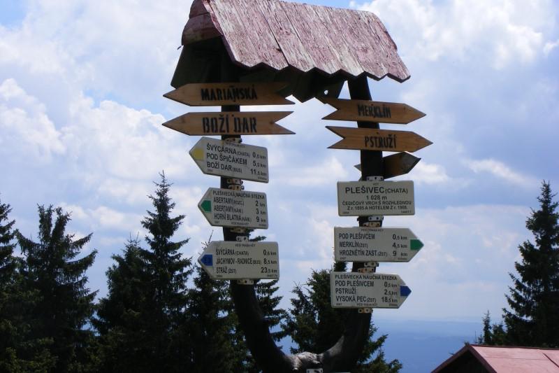 Gipfelschild und Wegweiser