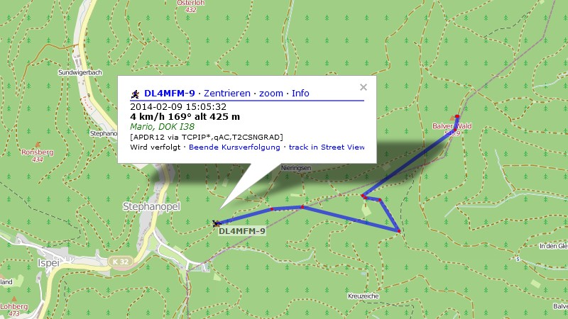 APRS Tracking (on Open Strreet Map)