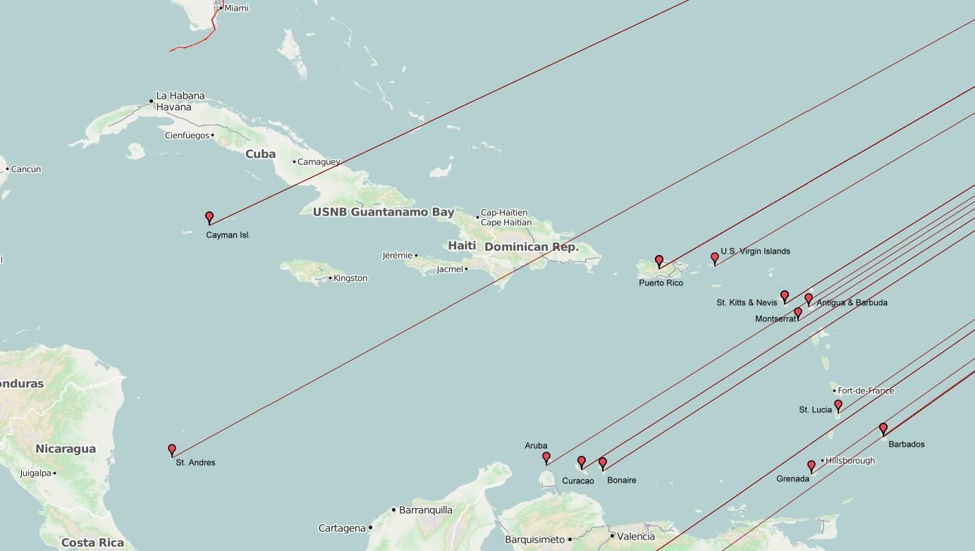 Karibischer Ausschnitt der OSM Karte der gearbeiteten Länder