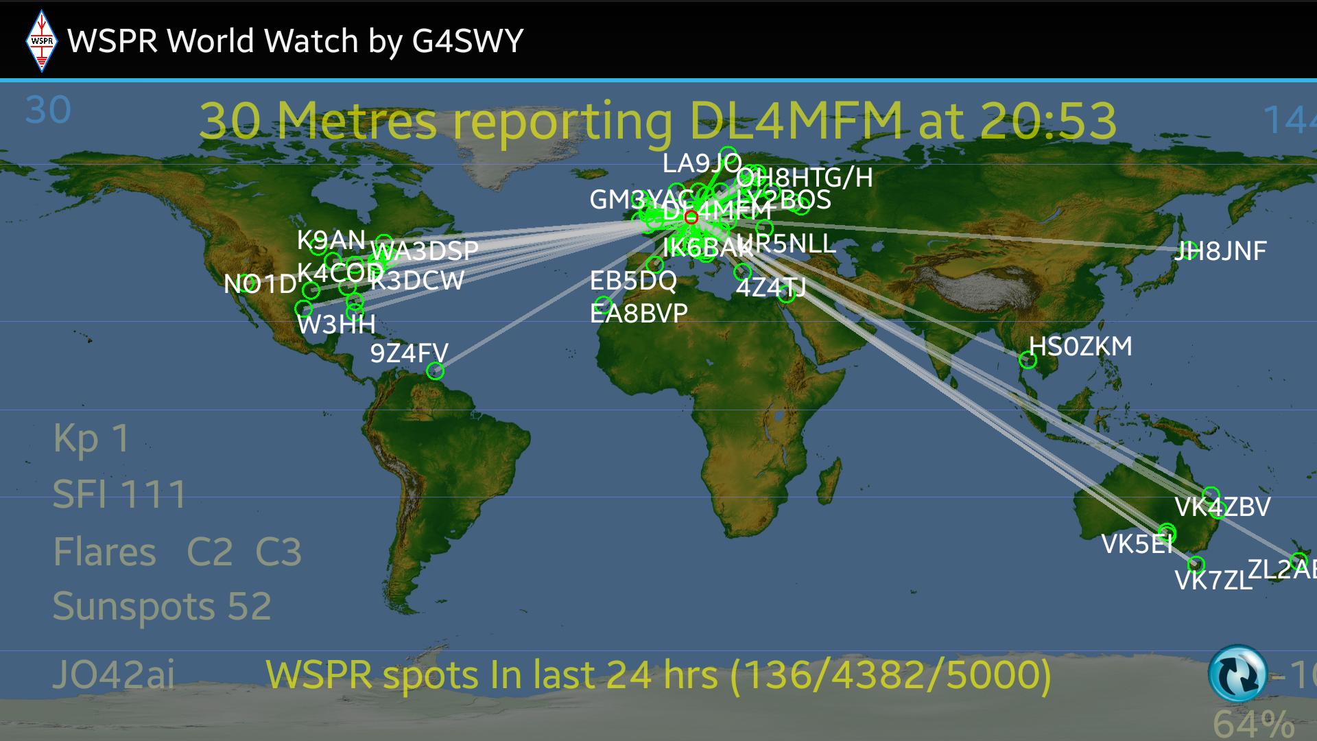 24h WSPR Test on 30m