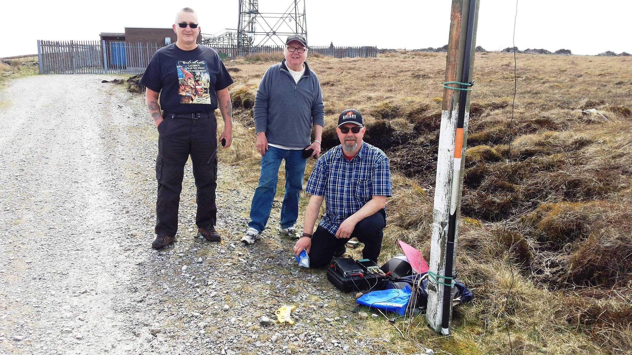 Steve, G1INK. Mike, 2E0YYY, Mario M0GQY on G/SP-010 Winter Hill
