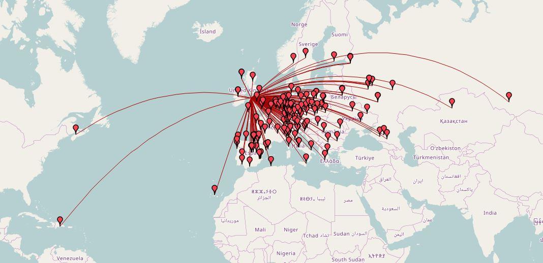 2W0YYY QSO Map (Daten von OpenStreetMap – Veröffentlicht unter ODbL)