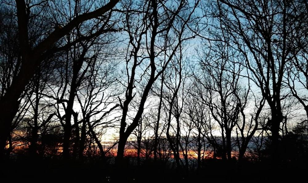 Blick nach Westen in den Sonnenuntergang