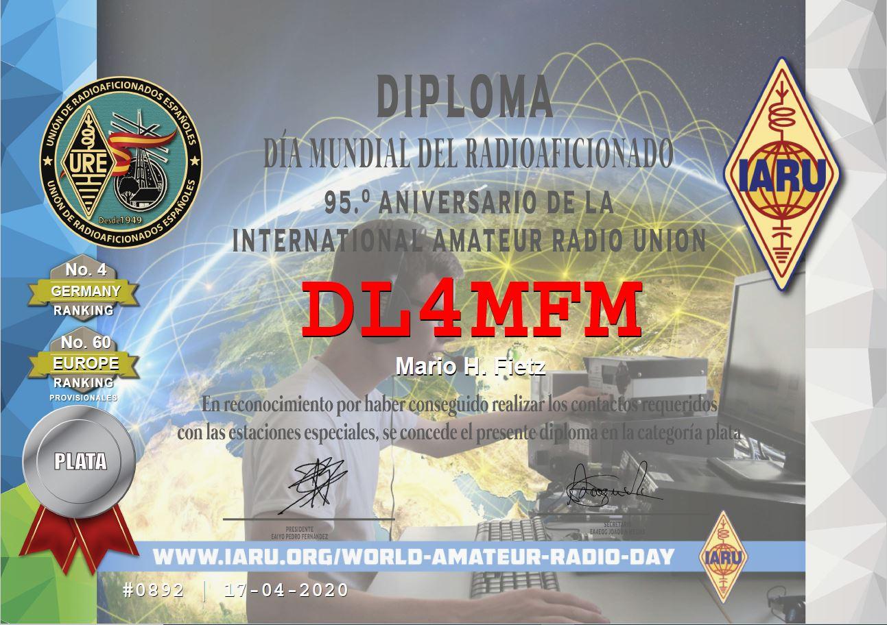 95 years IARU SILBER Award aus Spanien