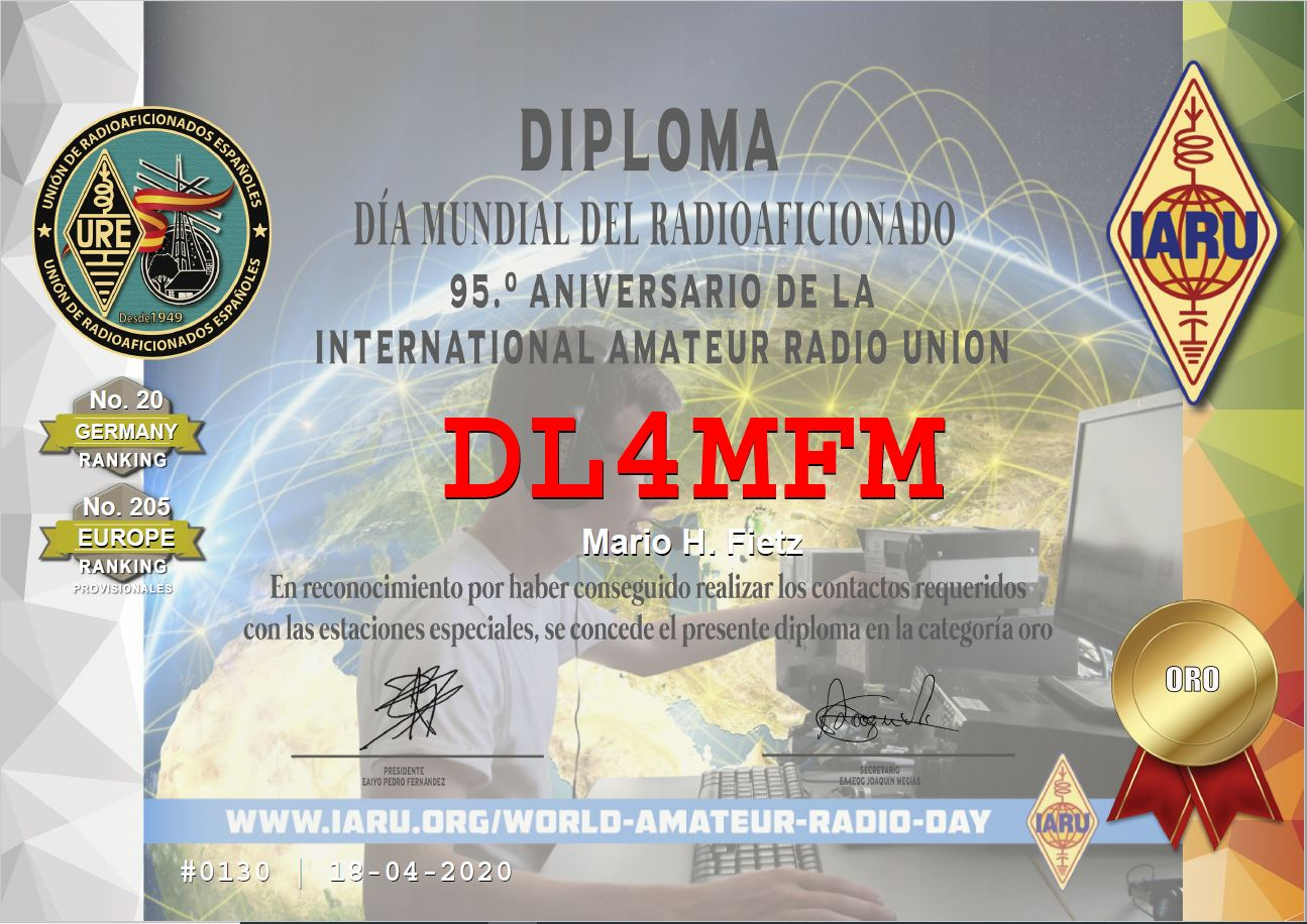 95 years IARU GOLD Award aus Spanien